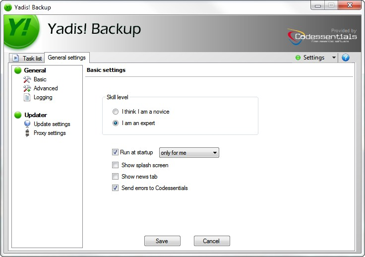 Back-up software settings