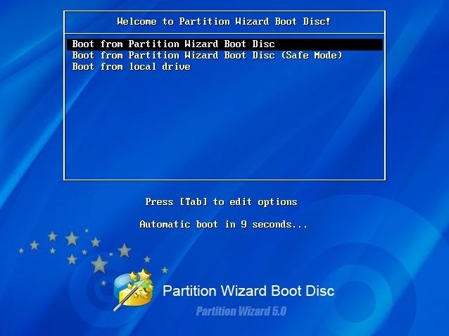 Partition Wizard boot CD